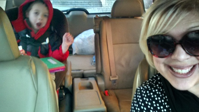 Cole and me in the car